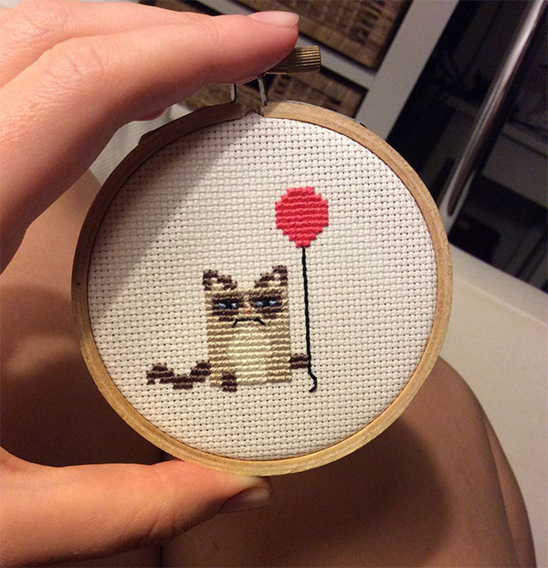 Grumpy Cat cross stitched