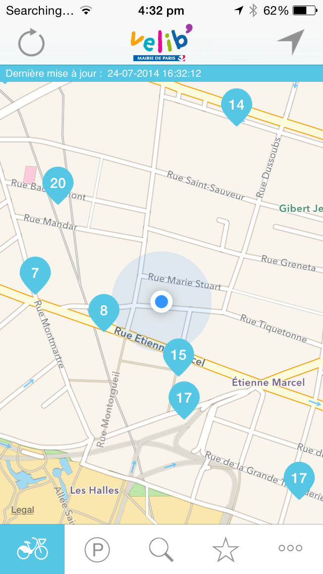 Интерфейс приложения Vélib' — ближайшие парковки к нашей квартире на rue Tiquetonne