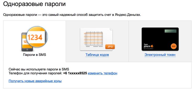 Одноразовые пароли Яндекс.Денег