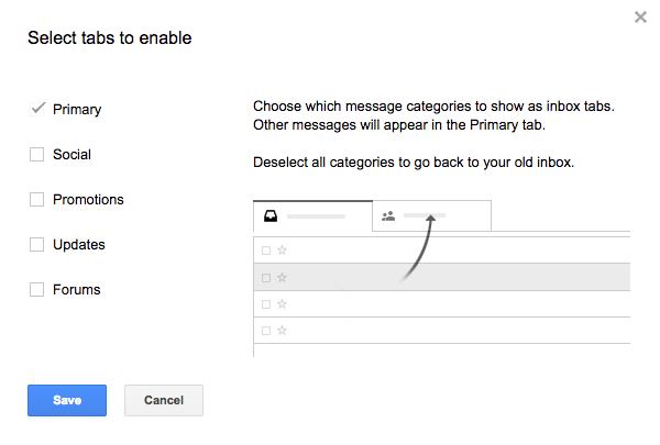 Новый способ показывать письма в табах Gmail.