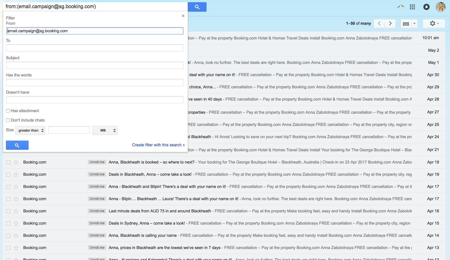 Gmail отсортировал все письма от Booking.com и показал в результатах выдачи
