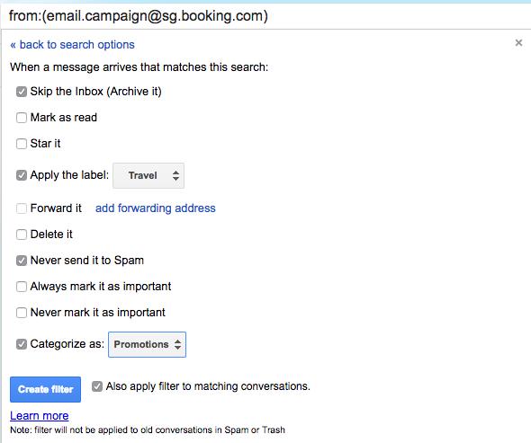 Список правил для рассылок от сайта Booking.com