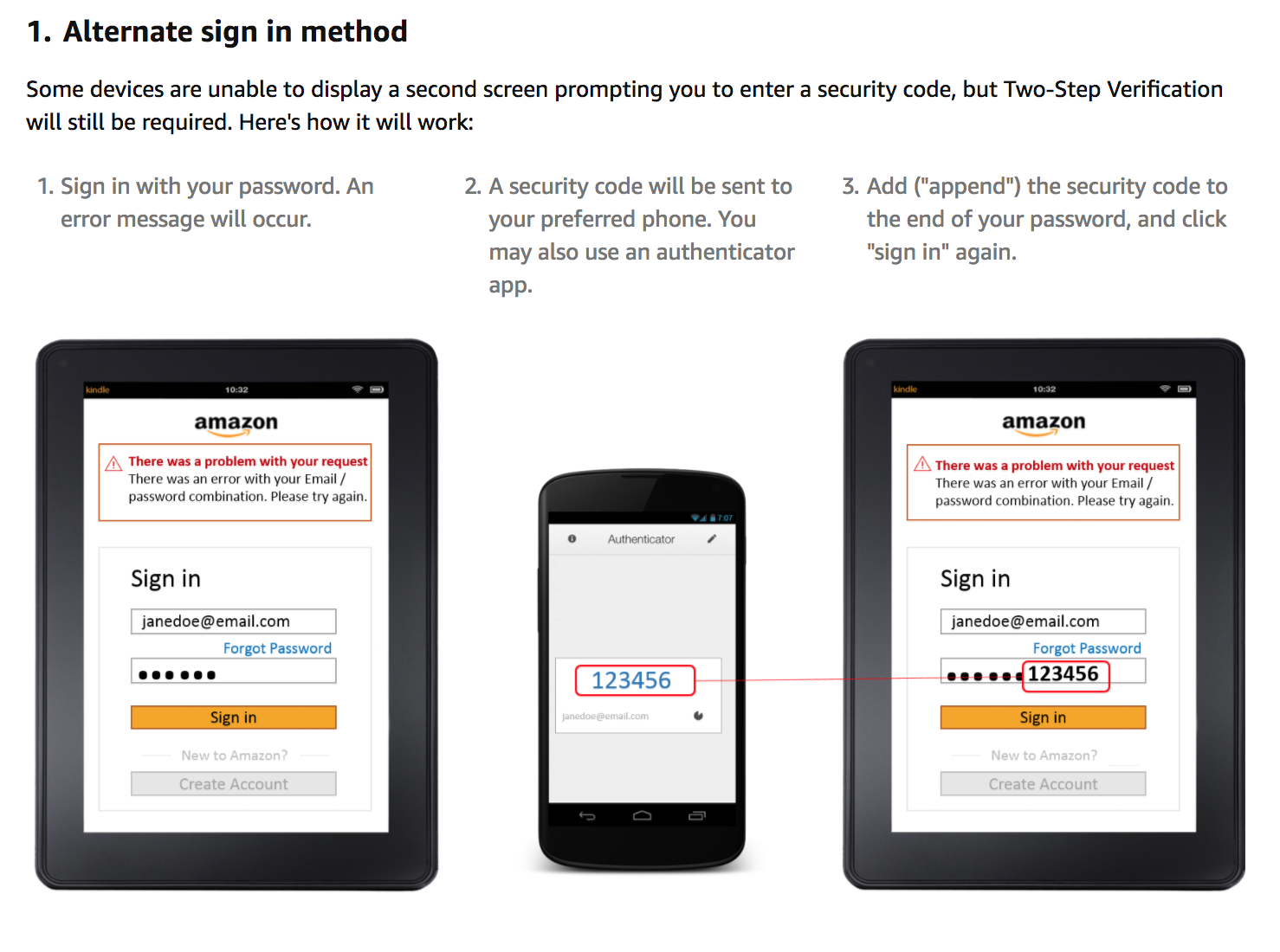 "Add (""append"") the security code to the end of your password, and click ""sign in"" again."