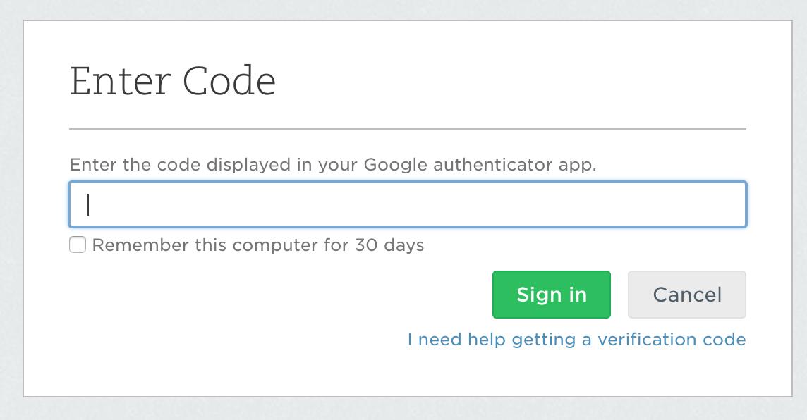 Форма ввода одноразового пароля Evernote